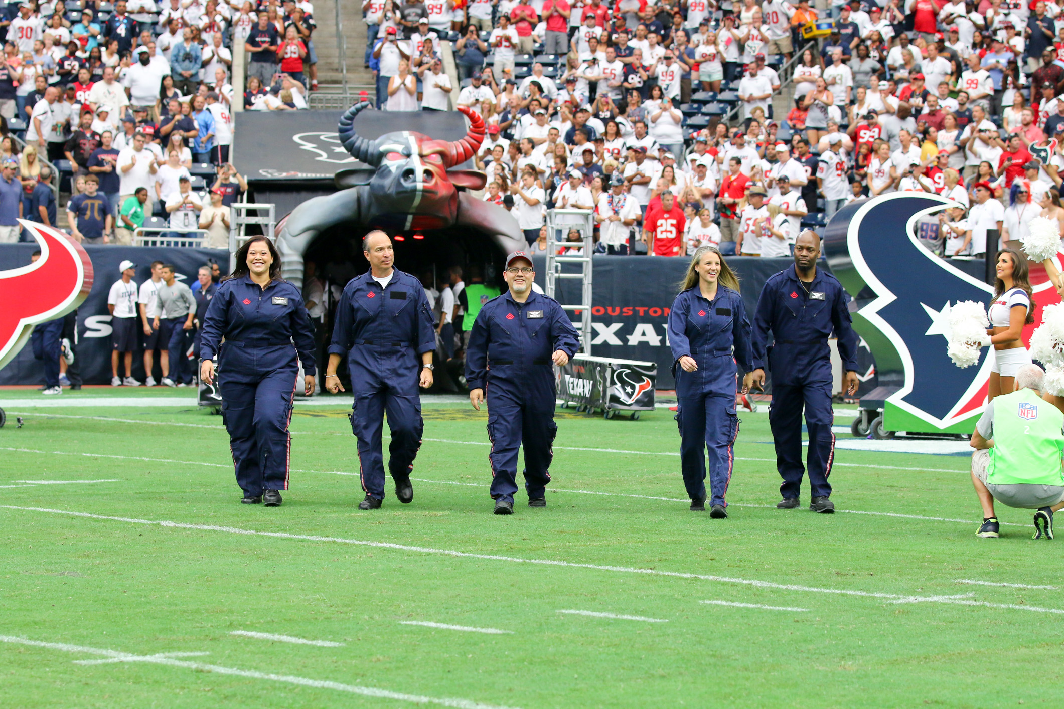 Texas Children's Kangaroo Crew serves as Houston Texans Honorary Team Captains in the season opener on September 13, 2015